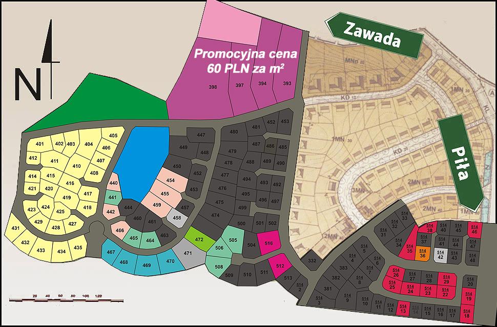 Mapa działek / gruntów na sprzedaż w Pile